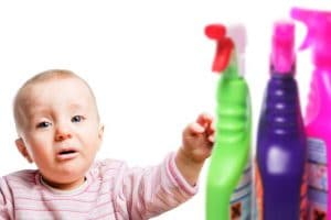 Protect infant child from corrosive and toxical cleaning chemicals