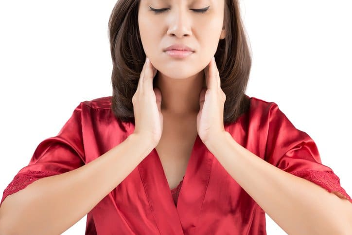 Sore throat woman isolate on white background