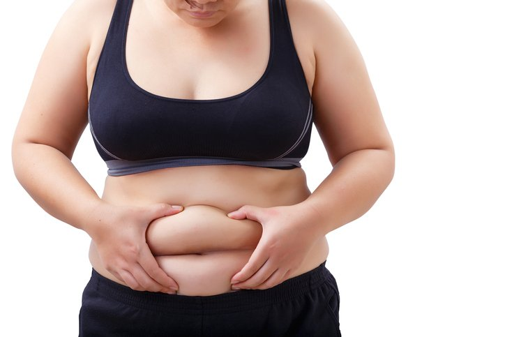 fat woman looking and touching her stomach